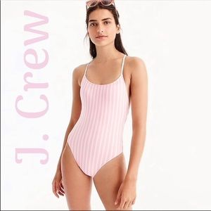 J Crew Lace up one piece Striped Bathing Swimsuit